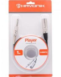 Detalhes do produto Cabo para Microfone XLR(M) X P10 1m PLAYER Preto HAYONIK