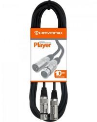 Detalhes do produto Cabo para Microfone XLR(F) X XLR(M) 10m PLAYER Preto HAYONIK