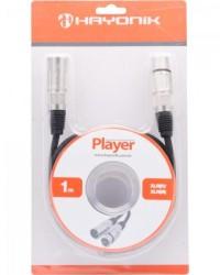 Detalhes do produto Cabo para Microfone XLR(F) X XLR(M) 1m PLAYER Preto HAYONIK
