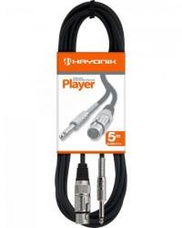 Detalhes do produto Cabo para Microfone XLR(F) X P10 5m PLAYER Preto HAYONIK