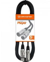 Detalhes do produto Cabo para Microfone XLR(F) X XLR(M) 5m PLAYER Preto HAYONIK