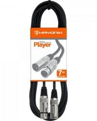 Detalhes do produto Cabo para Microfone XLR(F) X XLR(M) 7m PLAYER Preto HAYONIK